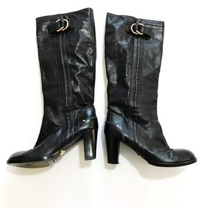 Chloe antiqued black leather boots with gold ring